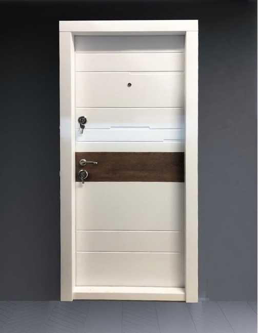Ușă metalică pentru apartament Tiffani alb mat